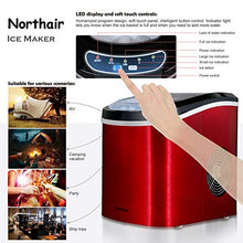 Countertop Ice Maker Machine with 26lbs Daily Capacity, Stainless Steel Ice Cube Makers for RVs, Boats, Kitchens, Bars HZB-12/SA (Red)