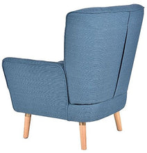 Sofa Arm Chair Single Lounger Armrest Leisure Recliners Linen Wood Frame Accent Blue