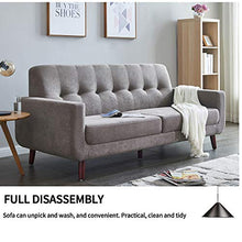 Mid-Century Modern Tufted Fabric Loveseat Sofa Couch Living Room Furniture 79 inches (Gray)