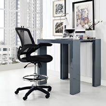 Modway Veer Drafting Chair In Black - Reception Desk Chair - Tall Office Chair For Adjustable Standing Desks - Flip-Up Arm Drafting Table Chair…