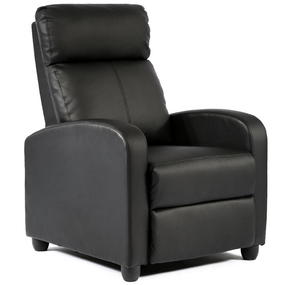 Camande FDW Wingback Recliner Chair Leather Single Modern Sofa Home Theater Seating for Living Room Black