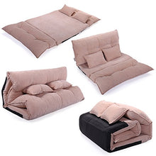 Adjustable Folding Leisure Sofa Bed Video Gaming Sofa W/Two Pillows (Pink)