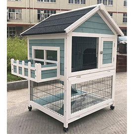 Flyline Garden Window Rabbit Hutch Bunny Cage Guinea Pig Ferret Chinchilla Small Animal Habitat L43x W31x H46 inches