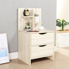 Wood Nightstand 2 Drawers for Bedroom End Table Side Table,Black JZS-CT2B