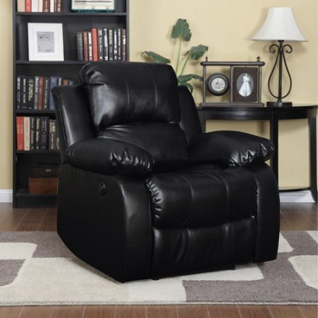 Leather Electric Power Wall Hugger Recliner, Black