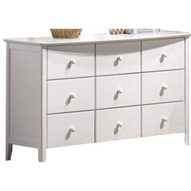 Wooden Dresser with Nine Drawers, White