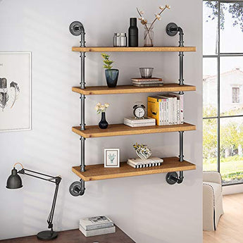 4 Tier Wall Pipe Shelf, Industrial Hollowed Out Solid Wood Floating Shelving Unit Book Shelf for Home Office Storage Organizer(Brown)