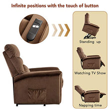 Lift Recliner Chair Power Lift Chair with Gentle Motor Velvet Cover-Buff