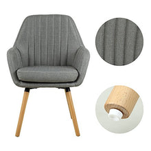 Contemporary Indoor Muted Fabric Arm Chair, Accent Chair with Solid Wood Frame Legs (Gray)
