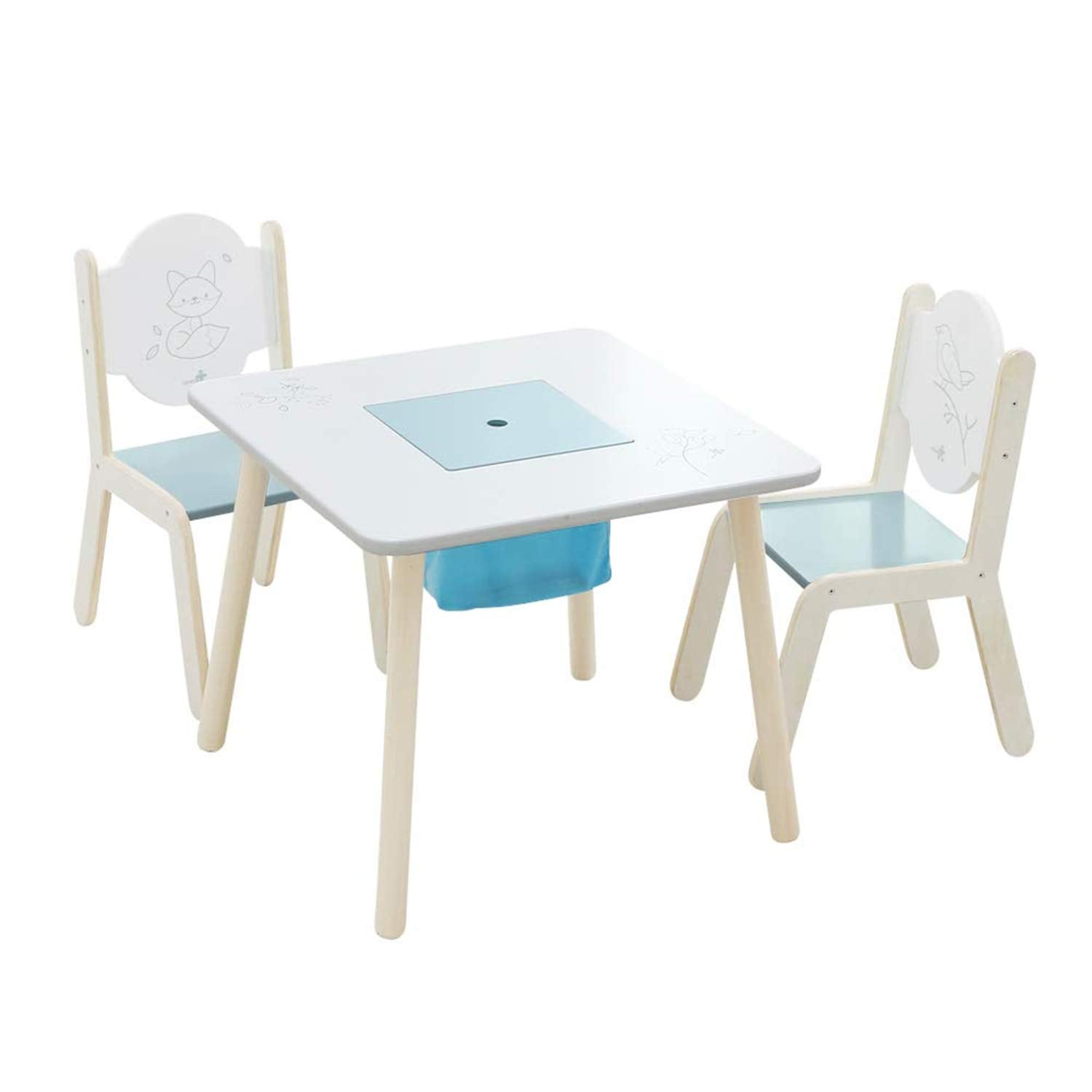 Wooden Activity Table Chair Set, Bird Printed White Toddler ...