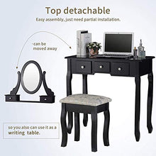 Vanity Table Set with Mirror, Dressing Table Vanity Makeup Table with 5 Drawers/Stool,Black