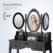 Vanity Set with Stool,Dressing Table with Tri-Folding Mirror Wood Vanity Makeup Table Set with 7 Drawers Storage,Black