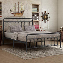 Victorian Vintage Style Platform Metal Bed Frame Foundation Headboard Footboard Heavy Duty Steel Slabs Queen Full Twin Silver/Gray Finish (Queen)