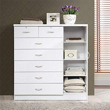 Tall 7 Drawer Chest with 2 Locking Drawers and Garment Rod or Extra Storage in White