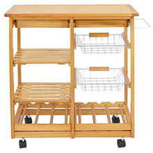 Multi-Purpose Wood Rolling Kitchen Island Trolley w/Drawer Shelves Basket