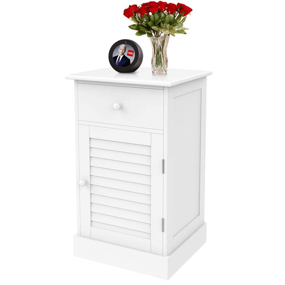 Nightstand End Table with One Drawer and Slatted Door, Wooden Accent Table Sofa Bed Side Storage Cabinet White