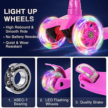 Kick Scooter 3 Wheel Scooter, Lean to Steer, 4 Adjustable Height, PU LED Light Up Wheels for Children 3-14 Years Old