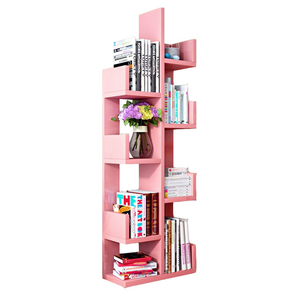 Floating Shelves, Floor Creative Tree Student Bookcase Simple Modern Children's Assembly Storage Rack Living Room Simple Rack ( Pink)
