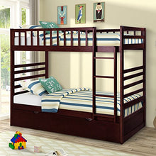Twin Over Twin Bunk Bed with Trundle Solid Wood Bunk Bed in Espresso Finish