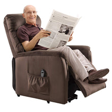 Power Lift Chair Recliner for Elderly Soft and Warm Fabric, with Remote Control for Gentle Motor Living Room Furniture, Chocolate