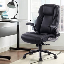 Office Desk Swivel High Back Chair with Metal Base- Adjustable Built in Lumbar Support, Tilt Angle and Flip-Up Arms, Black