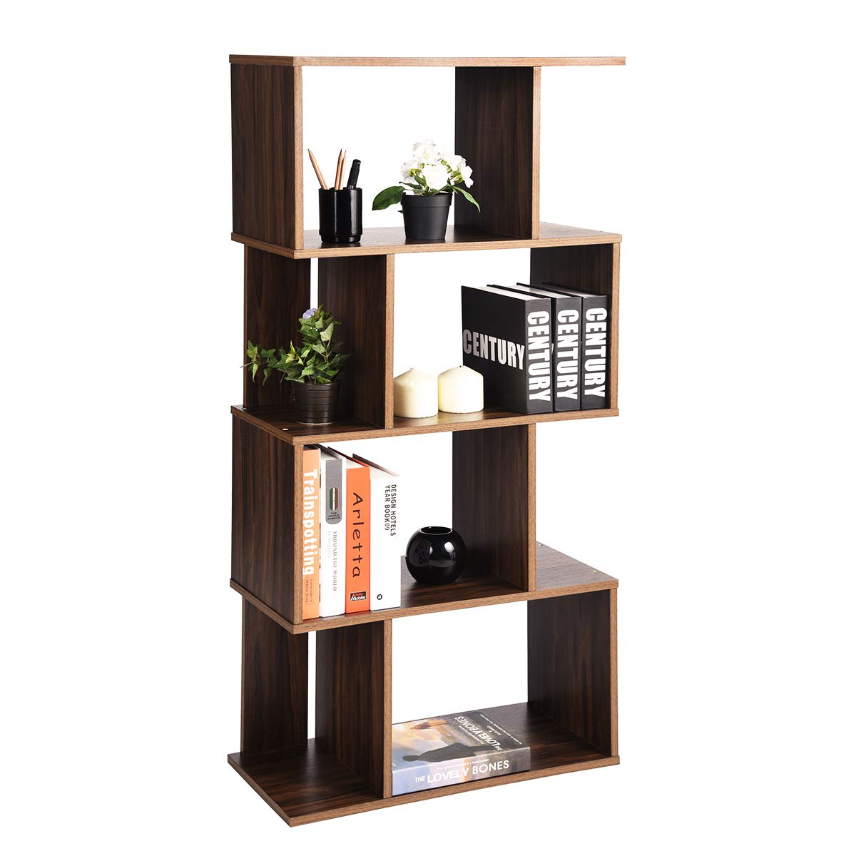 Geometric Industrial-Bookshelf Home Office-Bookcase with 8 Storage Spaces Modern Standing Storage-Shelf 2 Different Fits Organizer, Walnut