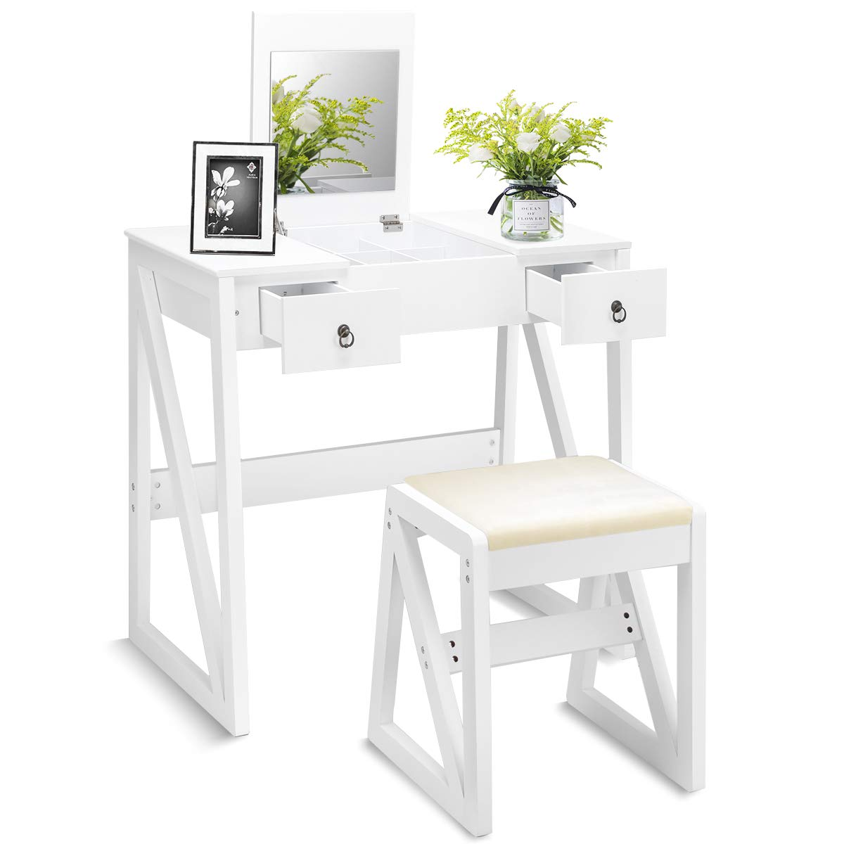 Dressing Table Set with Stool and Mirror, Flip Top Mirrored for Makeup 9 Mid Organizers Dual, Contemporary Vanity Tables  w/ 2 Drawers