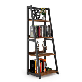 4-Shelf Ladder Shelf 55�Bookshelf Industrial Bookcase Vintage 4-Tier Open Display Bookshelf for Office Home