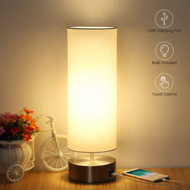 Touch Control Bedside Nightstand Lamp Quick USB Charging Port 3 Level Brightness Dimmable with Round Lampshade for Bedroom