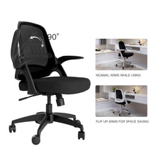 Hbada Modern Desk Comfort Swivel Home Office Task Chair with Flip-up Arms and Adjustable Height, White