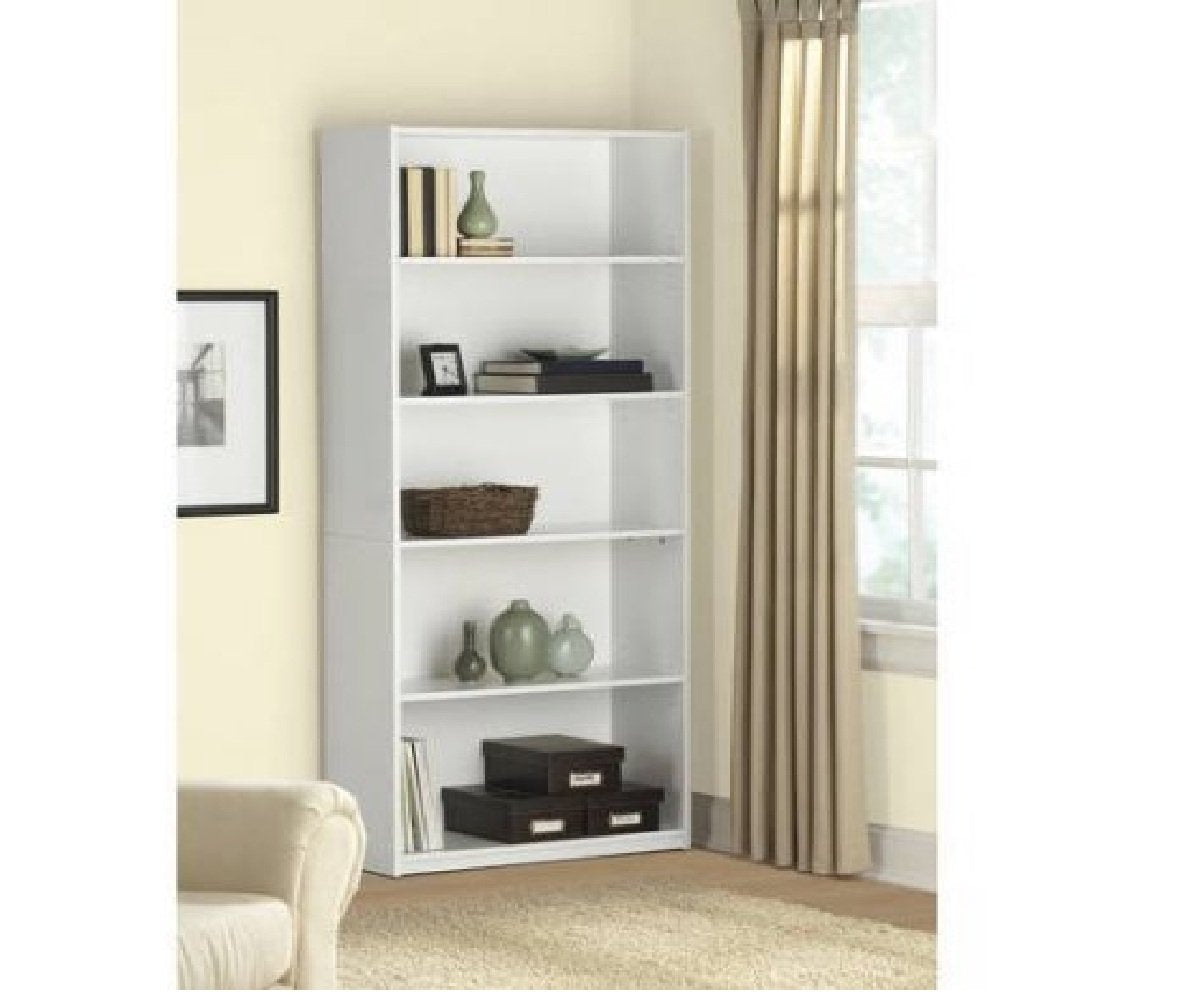 5-Shelf Wood Bookcase - White