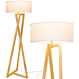 Wood Tripod Rustic Floor Lamp - Mid Century Modern, Standing LED Light for Living Rooms - Tall Lighting for Contemporary Bedrooms & Offices