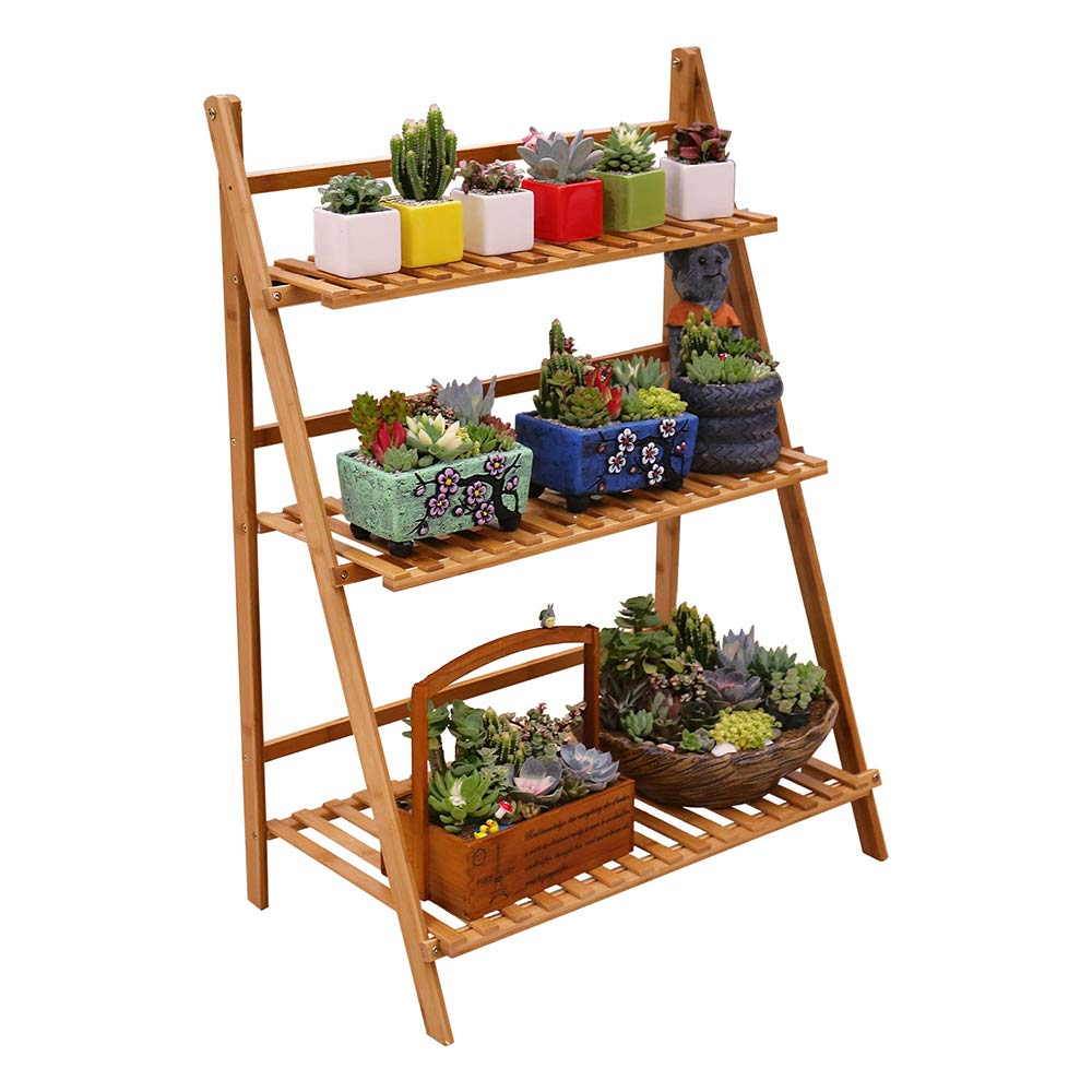 Plant Stand 3 Tier Foldable Flower Pot Display Shelf Rack for Indoor Outdoor Home Patio Lawn Garden Balcony Organizer Planter Holder