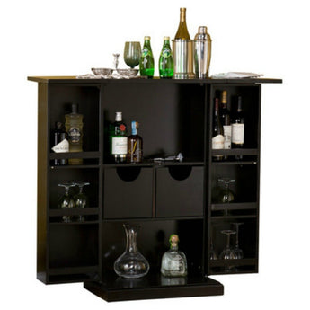 Stylish Bar Cabinet - Mini Home Liquor Wine Glass Storage Expandable Furniture