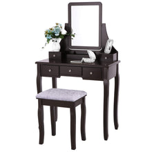 Vanity Set with Mirror & Cushioned Stool Dressing Table Vanity Makeup Table 5 Drawers 2 Dividers Movable Organizers Black FST01H