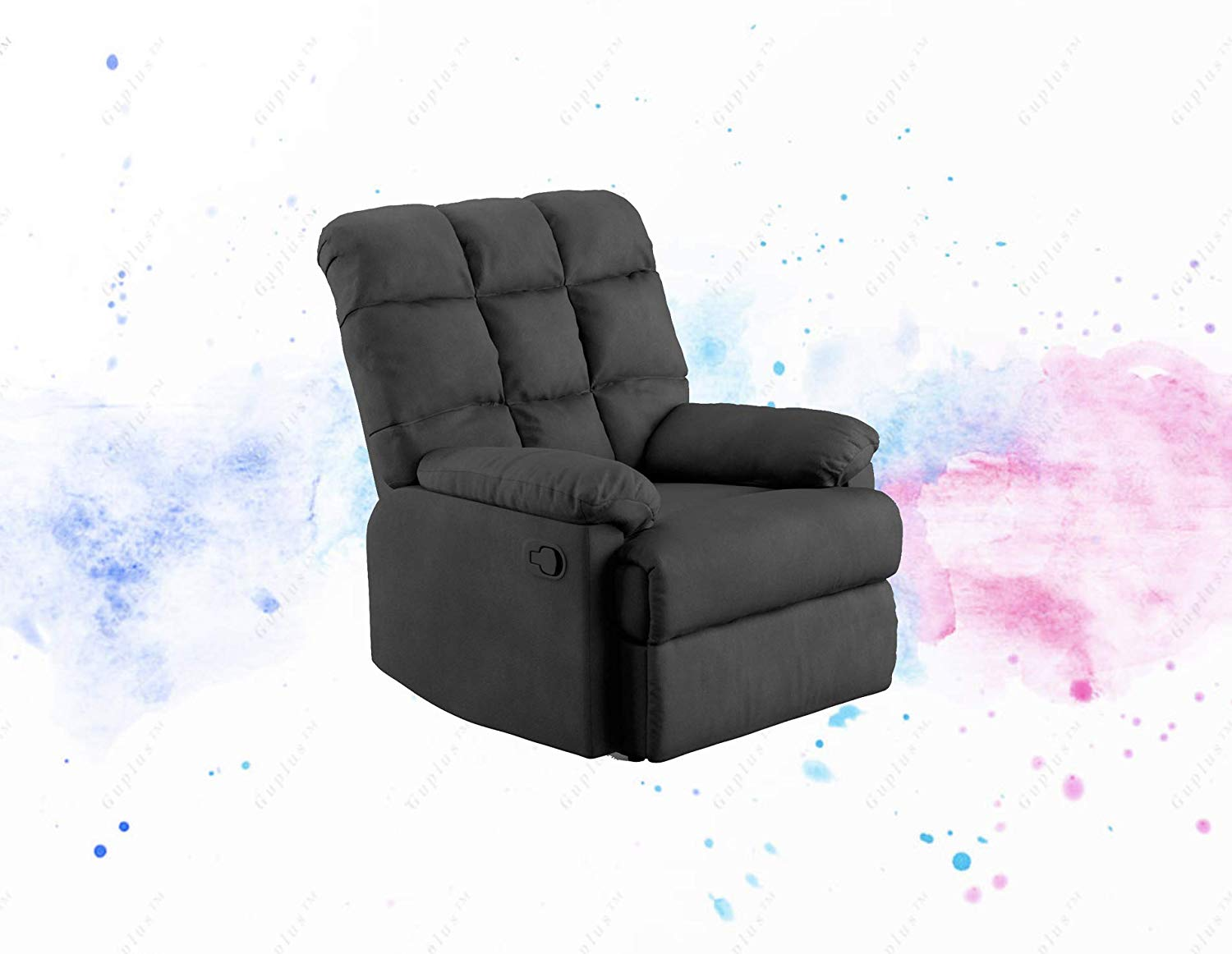 Microfiber Biscuit Back Recliner Chair, Multiple Colors generously designed overstuffed recliner