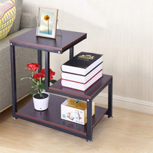 Nightstand Storage Shelf, 3-Tier Chair Side Table Metal Night Stand Lamp Coffee Table, for Living Room & Bedroom