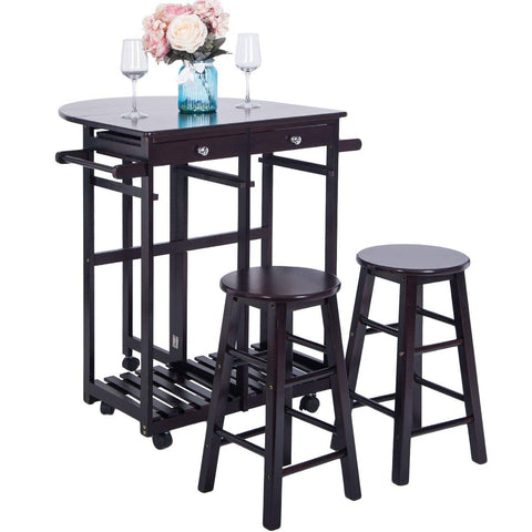 Kitchen Island Cart Folding Top Drop-Leaf with 2 Stools, Espresso
