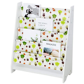 Wooden Sling Bookcase - Green & White, Sturdy Canvas Fabric Kids Bookshelf Sided Book Display Stand,Toy Picture Book Storage Rack