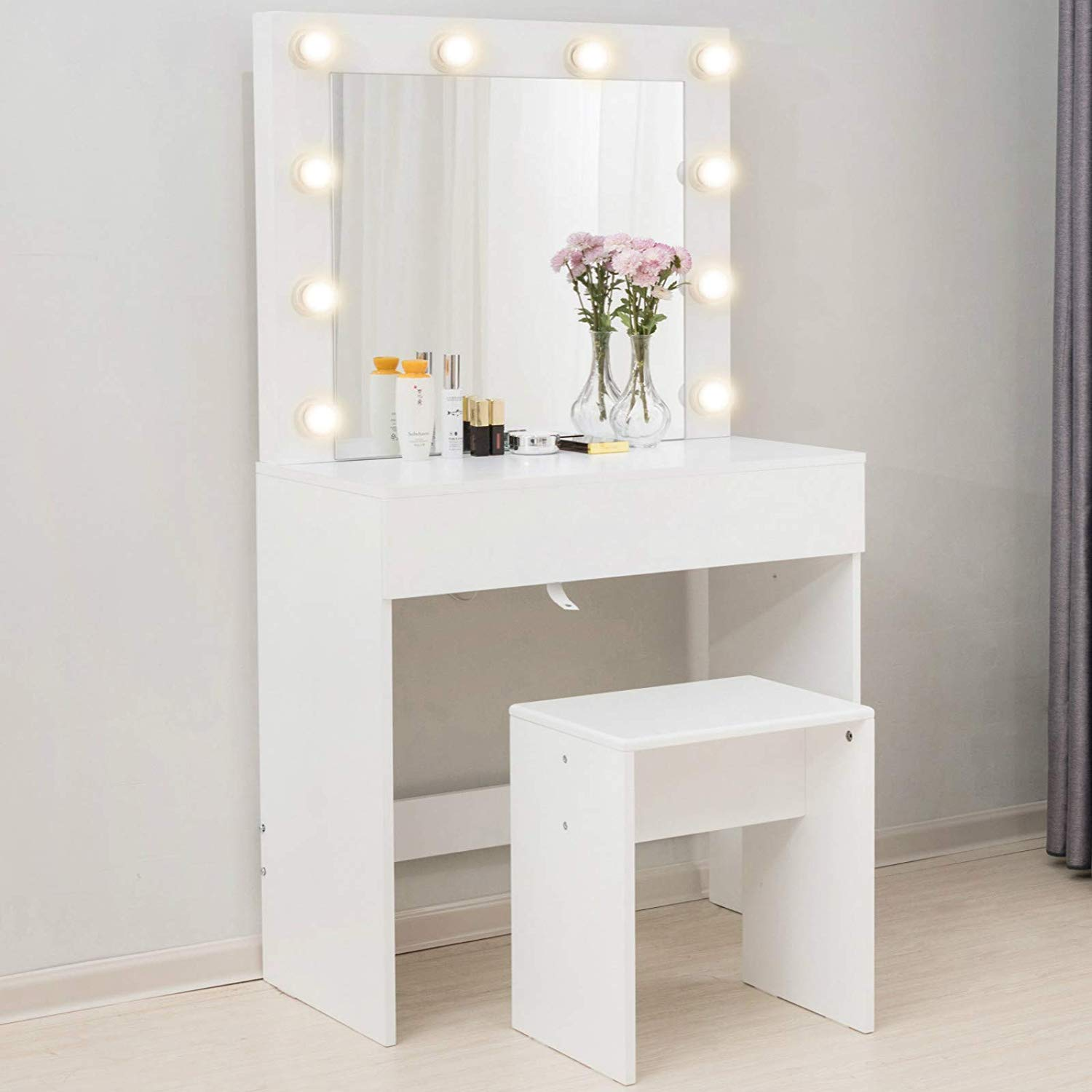Makeup Vanity Table w/10 LED Lights Mirror,Vanity Set with Stool&Drawer,Wood Dressing Table Bedroom Furniture Girls Women Gifts White