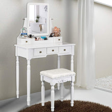 Modern Vanity Table Set with Mirror and Cushioned Stool,with 5 Drawers,Removable Desk Makeup Organizer for Nail Polishes Brushes