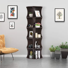 5 Tier Brown Round Wall Corner Shelf Stand Storage Skinny Display Bookshelf Rack Casual Home Office Furniture