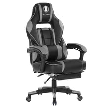 Reclining Memory Foam Racing Gaming Chair - Ergonomic High-Back Racing with Retractable Footrest and Adjustable Lumbar Cushion(Grey)
