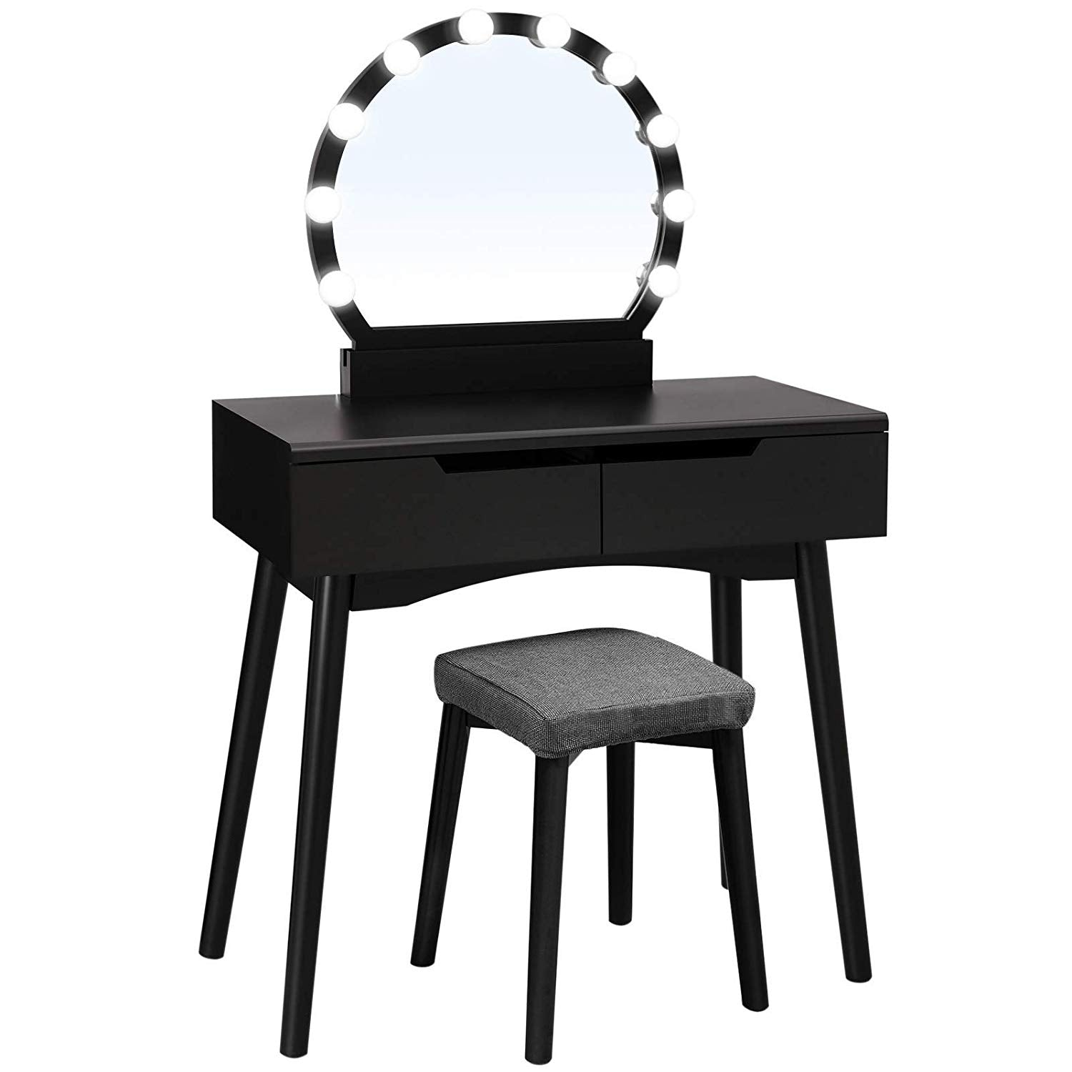 Vanity Set with 10 Light Bulbs and Touch Switch, Dressing Makeup Table with Large Round Mirror, 2 Sliding Drawers, 1 Cushioned Stool (Black)