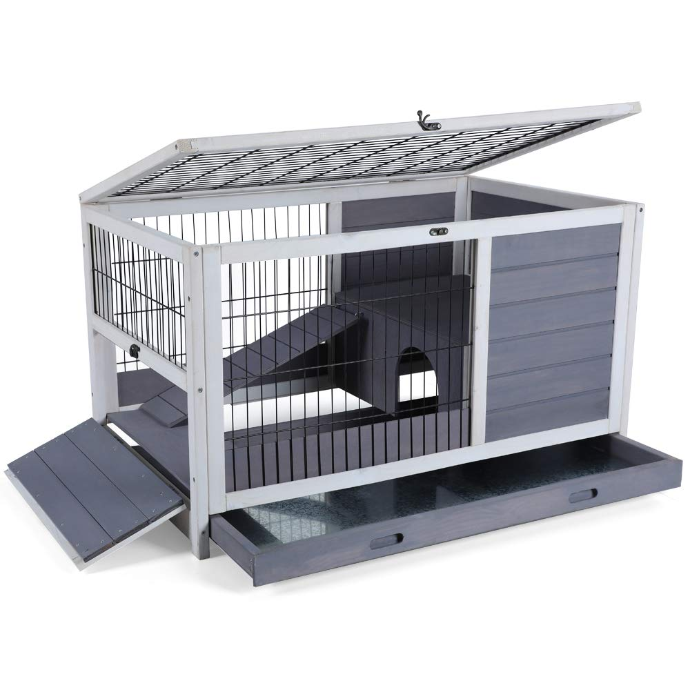 Indoor Rabbit Hutch with Hideout for Rest and Ramp for Enter and Out, 35.5