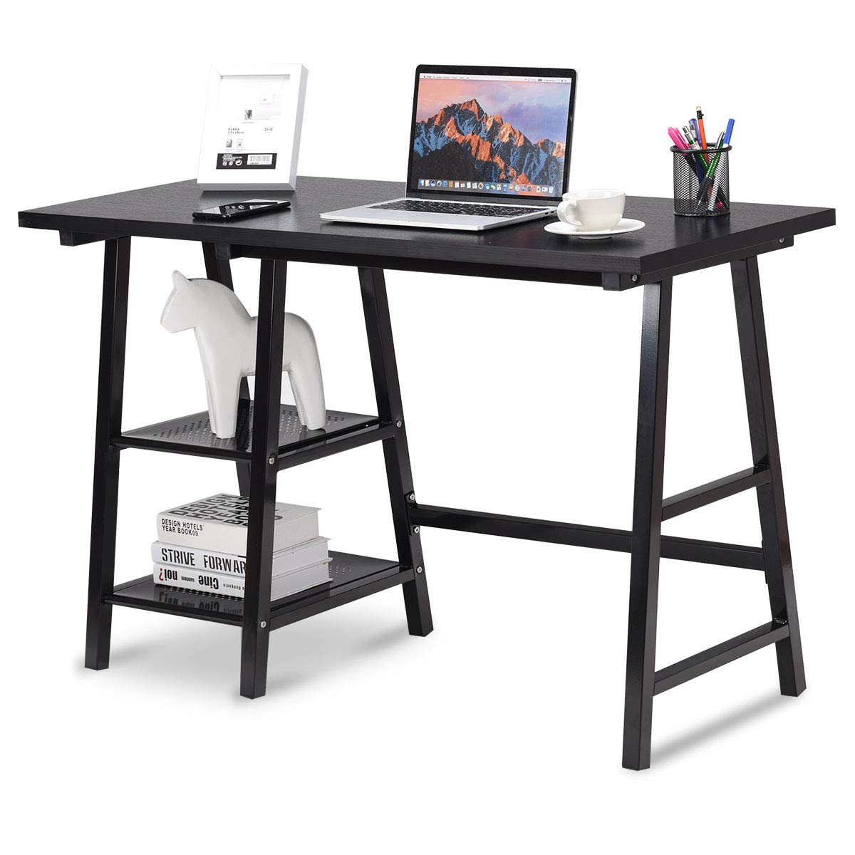 Writing Computer Laptop PC Desk, Modern Wood Vintage Style Reversible Storage Shelf, Home Office Furniture Sturdy Table  (Black)