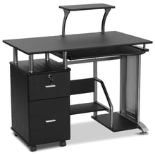 Computer Home Office Desk with Storage Drawer and Pull-Out Keyboard Tray, Compact Laptop PC Workstation