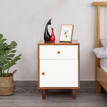 White/Espresso Wood Night Stand Mid-Century Bedside End Table with Drawer and Door Cabinet Bedroom Living Storage Organizer