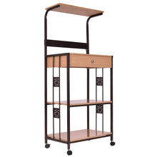 Bakers Rack Microwave Cart, Supreme 3-Tier Rolling Kitchen Microwave Oven Stand Storage Cart | Power Strip | Brown Metal Frame