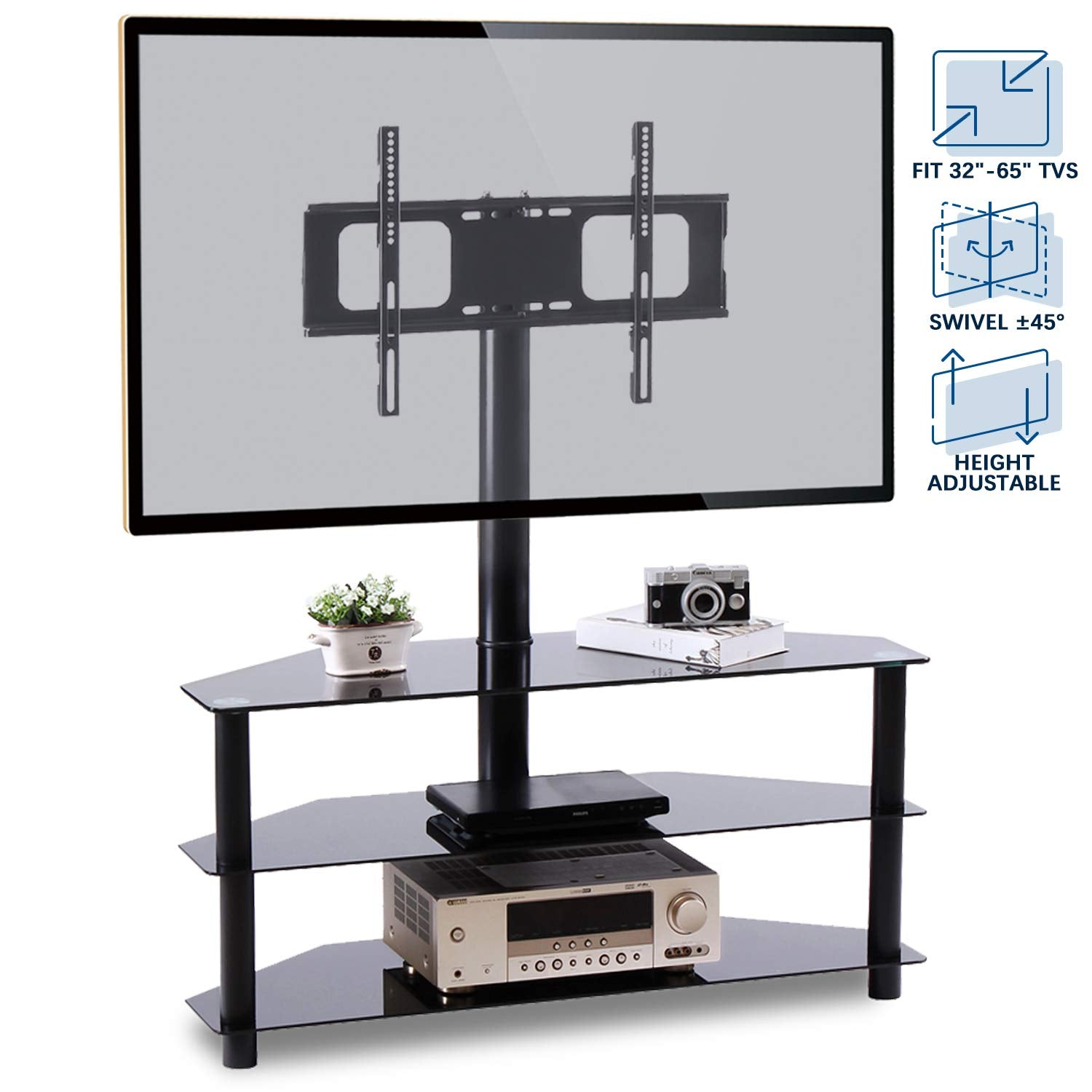 "Floor TV Stand with Swivel Mount for Most 32""-65"" LED, LCD, OLED and Plasma Flat or Curved Screen TVs, Height Adjustable 3-in-1 Entertainment"